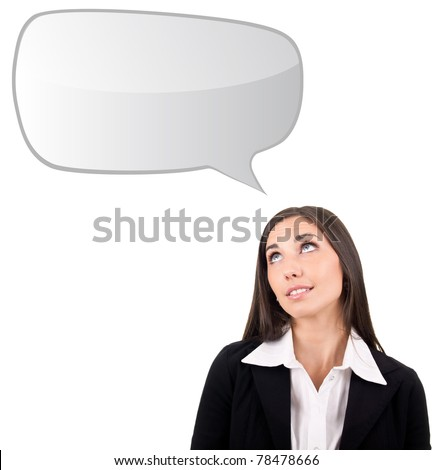 businesswoman thinking,  blank thought bubbles overhead, isolated on white - stock photo