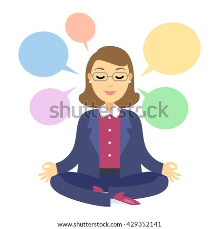 Businesswoman thinking during meditation. Woman doing yoga meditation or relaxing, choose right decisions - stock photo