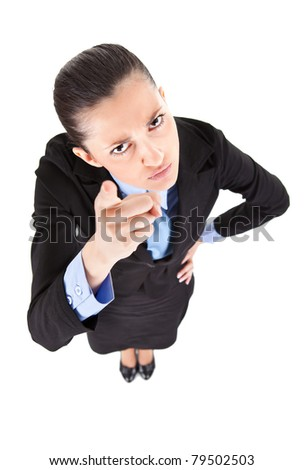 businesswoman threatening, gesturing with finger, isolated on white background, top view - stock photo