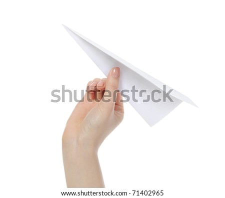 Businesswoman throwing white paper plane. Isolated on white background - stock photo