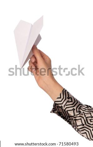Businesswoman throwing white paper plane on the break - stock photo