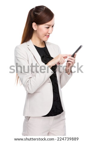 Businesswoman touch on mobile phone