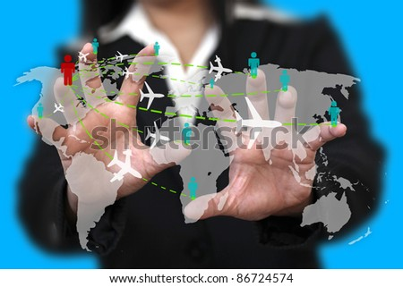 businesswoman touch on screen for world business travel transport concept - stock photo