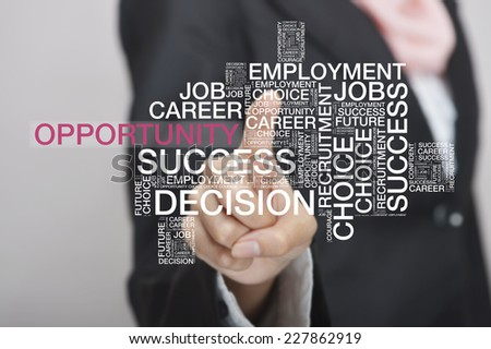 Businesswoman touch screen concept with Opportunity wordcloud - stock photo