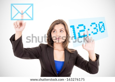 businesswoman touching virtual screen with charts and time - stock photo
