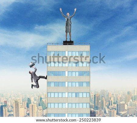 Businesswoman triumphes on the top - stock photo