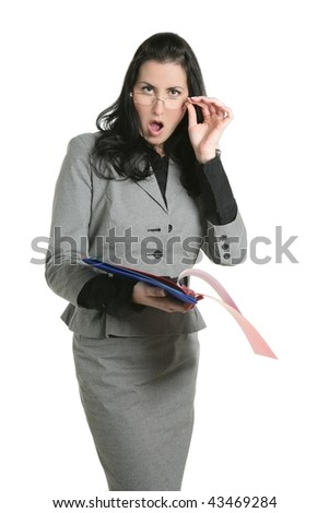 Businesswoman unhappy folder document results negative expression - stock photo