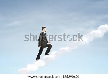 businesswoman up stairs out of clouds - stock photo