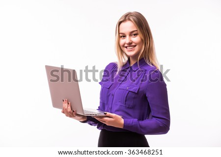 Businesswoman use laptop . Lady with different face emotions. Isolated on white background. - stock photo