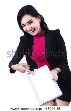 Businesswoman using digital tablet isolated on white background