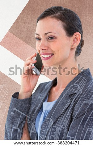 businesswoman using her phone against hand drawn city plan - stock photo
