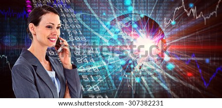 businesswoman using her phone against stocks and shares - stock photo
