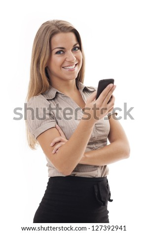 Businesswoman using mobile phone - stock photo