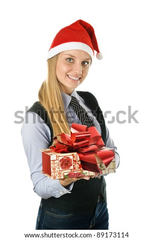 Businesswoman wearing a santa's hat with a gift. isolated on white background