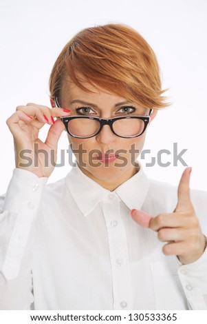 Businesswoman Wearing Glasses and Pointing Finger