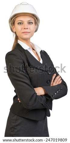 Businesswoman wearing hard hat, her arms crossed on her breast, looking at camera. Isolated over white background - stock photo