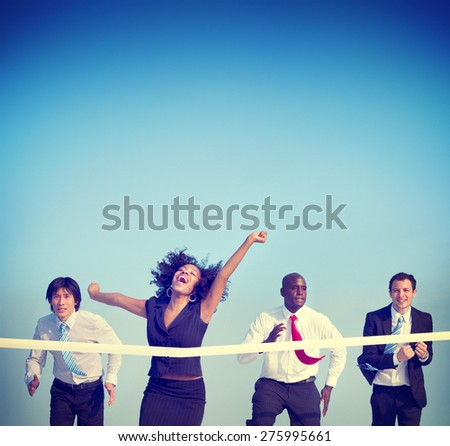 Businesswoman Winning Competition Mission Goal Concept - stock photo