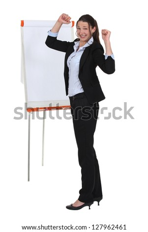 Businesswoman with a flipchart
