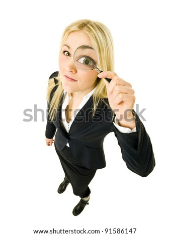 Businesswoman with a Magnifying Glass from High Angle view - stock photo