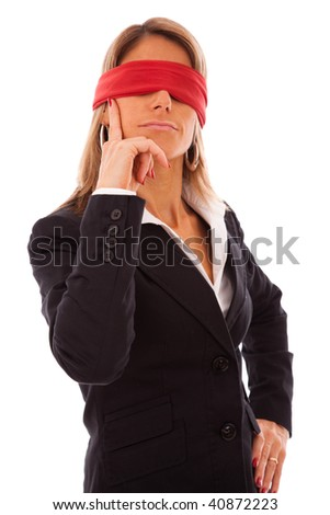 businesswoman with a red scarf in her eyes, thinking what to do - stock photo