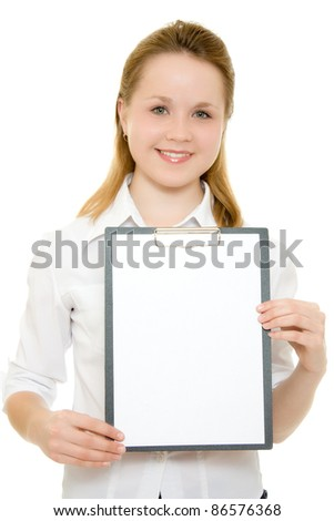 Businesswoman with a white board in his hands. - stock photo