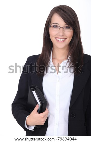 Businesswoman with agenda - stock photo