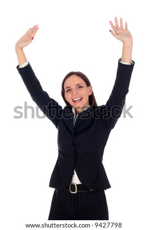 Businesswoman with arms raised