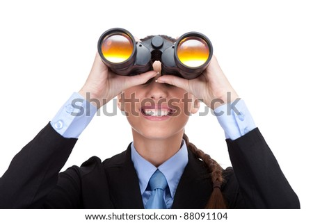 businesswoman with binoculars looking into the future , isolated on white background