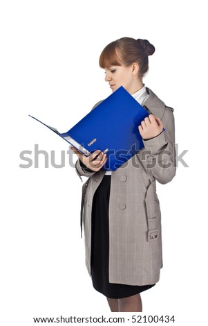 Businesswoman with book in black suit isolated on white background - stock photo