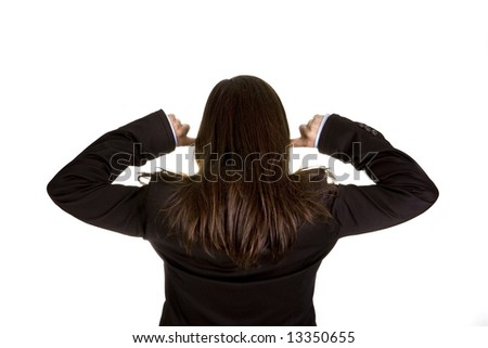businesswoman with both fingers in the ears isolated on white background - stock photo