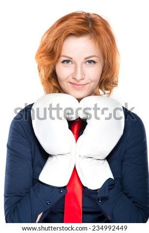 businesswoman with boxing gloves isolated on white background - stock photo