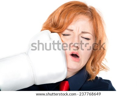businesswoman with boxing gloves isolated on white background