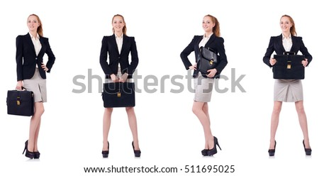 Businesswoman with briefcase isolated on white