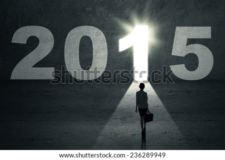 Businesswoman with briefcase walking toward a bright future door with number 2015 - stock photo