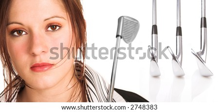 Businesswoman with brown hair, dressed in a white shirt with black stripes. Holding a golf club over her shoulder. Background has a row of professional golf clubs isolated on white.