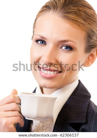 Businesswoman with coffee, isolated on white