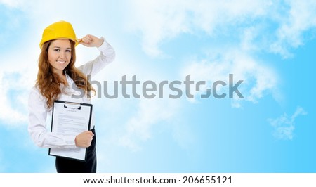 Businesswoman with construction helmet. on blue white