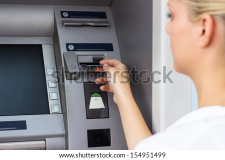 Businesswoman with credit card - stock photo