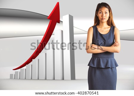 Businesswoman with crossed arms against futuristic bright grey background