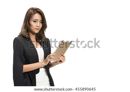 Businesswoman with Digital Tablet on white background - stock photo