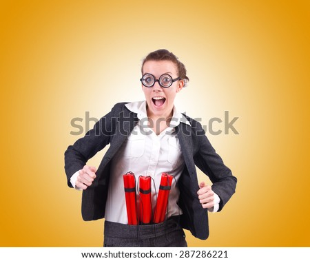 Businesswoman with dynamite against the gradient - stock photo