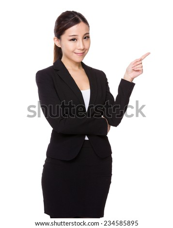Businesswoman with finger point up
