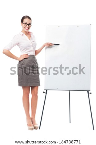 Businesswoman with flip chart - stock photo