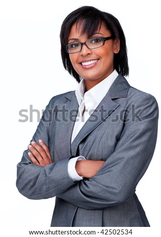 Businesswoman with folded arms wearing glasses against a white background - stock photo