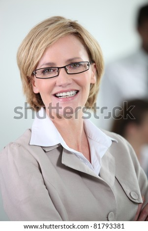 Businesswoman with glasses.
