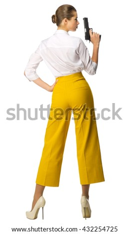 Businesswoman with gun isolated on white - stock photo