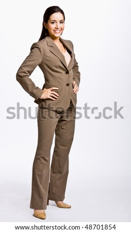 Businesswoman with hands on hips - stock photo
