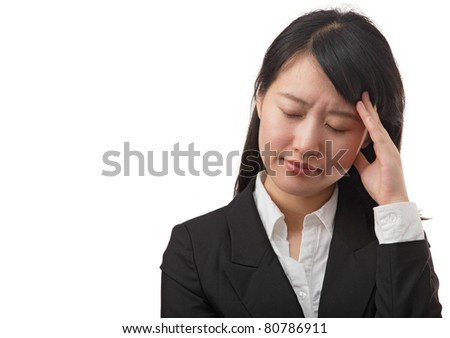 Businesswoman with headache, isolated on white - stock photo