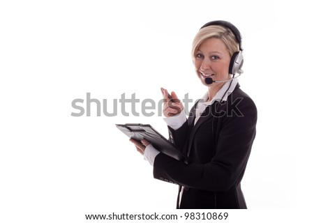Businesswoman with headset 2 - stock photo