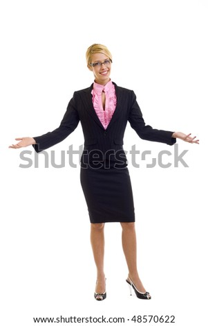 Businesswoman with her arms out in a welcoming gesture, isolated on white background. - stock photo